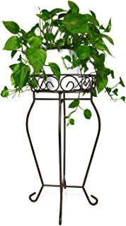 Yimobra Tall Plant Stand Metal Flower Pot Holder Large Rustproof Iron Garden Container Heavy Duty Rack for Planter High Supports Indoor Outdoor 12.5 X 23.6 Inches Bronze, Brown