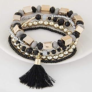 IJEWALRY Bracciale da Donna,Braccialetto,Elegante Fine Charm 5 Pz/Set Bohemian Beach Stile Candy Colore Multistrato Perlin...