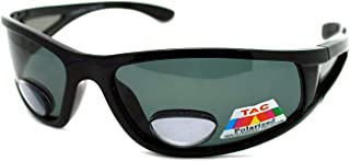Mens Wrap Around Sport Sunglasses Polarized Plus Bifocal Reading Lens Black