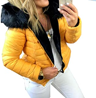 Howely Women's Zipper Winter Thickened Warm Fur Collar Trim-Fit Thick Coat