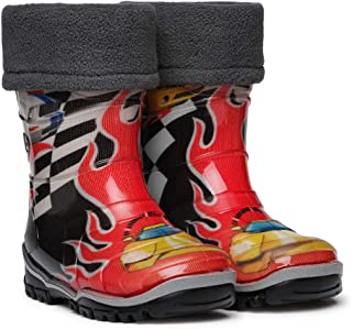 Dune-ast Waterproof Lightweight Natural Rubber Durable Rain Boots for Toddler Boys or Girls with Removable Insulation