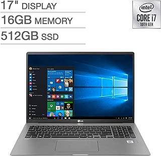 "LG 2020 Gram Thin And Light Laptop, 17"" Wqxga 2560 X 1600 Ips Display, Intel 10Th Gen I7-1065G7, 512Gb Ssd, 16Gb Ram, Thunderbolt 3, Up To 17 Hour Battery, Intel Iris Plus Graphics, Windows 10 Pro"