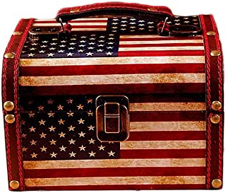 Nerien Vintage PU Leather Portable Storage Box Decorative Treasure Chest USA American Natioanl Flag Pattern