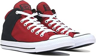 red and black high top converse