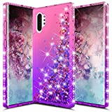 CHEETOP Galaxy Note 10 Plus Case for Girls Women, Slim Clear Soft TPU Diamond Glitter Liquid Gradient Quicksand Bling Sparkle Flowing Shiny Protective Cover for Galaxy Note 10 Plus (Pink&Purple)