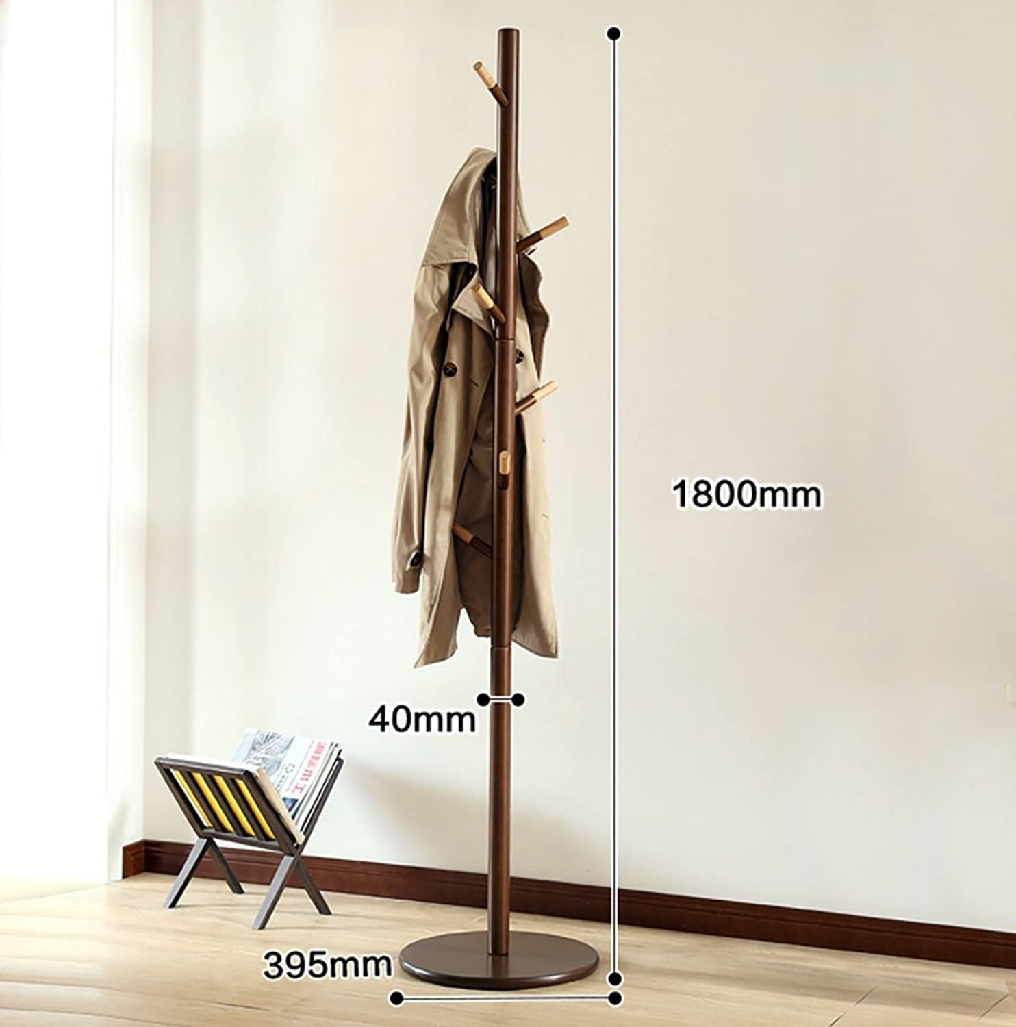 Wooden Coat Rack Free Standing, with 9 Hooks Lacquered Pine Wood Tree Coat Rack Stand for Coats, Hats, Scarves, Clothes, and Handbags 180cm (color   2)
