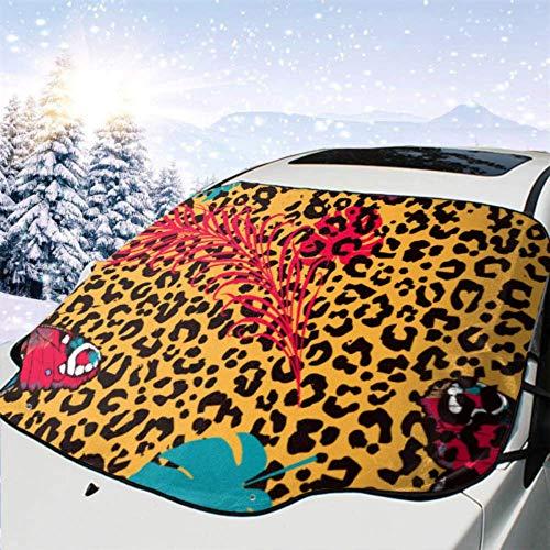 FETEAM Visera de sombrilla automática para Parabrisas Delantero Impermeable Mariposas Manchas de Leopardo Protector protección