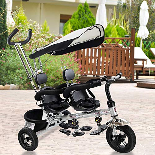 Costzon Kids Trike, 4 in 1 Twins Tricycle, 360°Rotatable Seats, Steer Stroller Detachable Canopy, Foldable Foot Pedals, Storage Basket (Tandem Tricycle, Black)