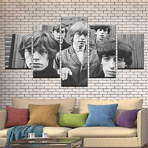 13Tdfc 5 Teilig Leinwand Wanddeko Jugend Die Rolling Stones Malerei Leinwanddrucke Geschenk 5 Stück Leinwand Bilder Moderne Wandbilder XXL Wohnzimmer Wohnkultur 150X80Cm