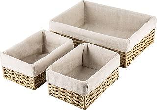 Hosroome Handmade Wicker Storage Baskets Set Shelf Baskets Woven Decorative Home Storage Bins Decorative Baskets Organizing Baskets Nesting Baskets(Set of 3,Beige)