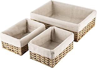 Hosroome Handmade Storage Basket Set Shelf Baskets Woven Decorative Home Storage Bins Organizing Baskets Nesting Baskets(S...