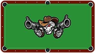 Unique Textile Printing Cowboy Skull Shooting Pistols High School College Team Mascot Billiard Cloth Pool Table Felt