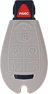 qualitykeylessplus Gray Rubber Case Silicone Protective Cover for Chrysler Fobik Remotes with Free KEYTAG