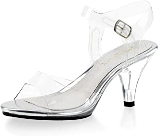 c5859ac52e8 Summitfashions Demure and Elegant Women s Clear Strappy Sandals with 3 Inch  Lucite Heels