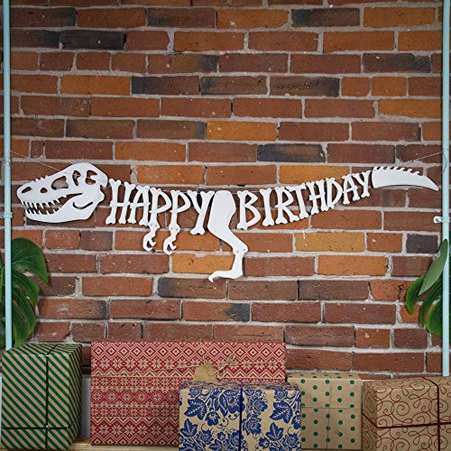 3D Dinosaur Happy Birthday Banner – Dinosaur Party Supplies Decorations – PREMIUM Dinosaur Decorations T-Rex Raptor Design with 3D Shading – NEW for 2020, Realistic, Large and Pre-assembled