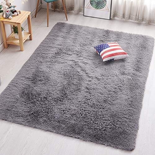 PAGISOFE Soft Kids Room Nursery Rug Bedroom Living Room Carpet 4' x 5.3', Gray