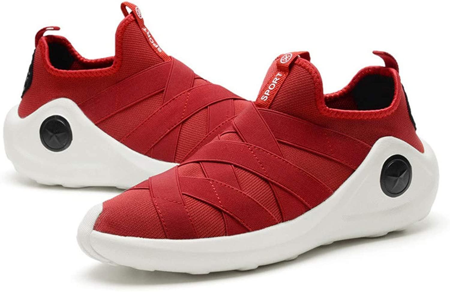 JLCP Mens Casual Athletic Sneakers, low to help Trainers Walking shoes Breathable Lightweight Non-slip Gym travel Running Outdoor Sports shoes,Red,40