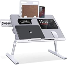 Tigmon Home Wooden Laptop Table Foldable Portable Notebook Table Lap Desk Tray Stand, Reading Holder with Coffee Cup Slot ...