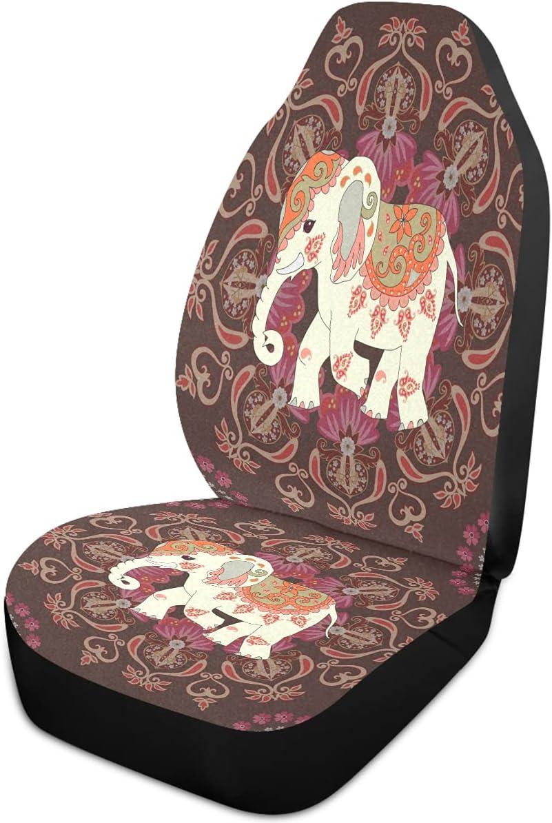 Oarencol Elephant Flower Cheap mail order specialty store Mandala Car Seat Regular dealer Covers Flo Boho Animal