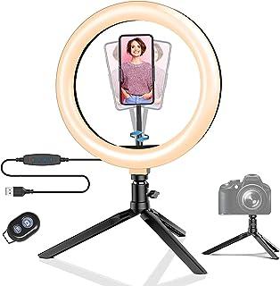 Ringlampa med stativ, BlitzWolf 25,8 cm LED-ringlampa med telefonhållare, dimbar selfie-ringlampa med 3 färger och 11 ljus...