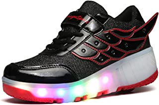 jlt Children Shoes Girls Boys Wing Led Light Sneakers Shoes with Wheel,Kids Roller Skate