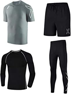 Men's Fitness Suit Compression Shirts and Trousers Tops, Long-Sleeved Sports Tights, Quick-Drying Moisture Wicking Trainin...