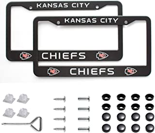 Matte Aluminum License Plate Frame with Black Screw Caps, 2Pcs 2 Holes Black Licenses Plates Frames For Kansas City Chiefs, Car Licenses Plate Covers Holders for US Vehicles (Kansas City Chiefs)