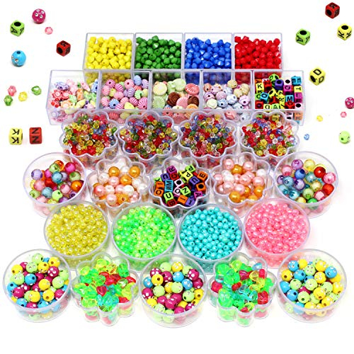 JOYIN 6000 Pieces Beads, Bracelet Making Kit with 28 Different Types & 4 Color Strings, Arts and Crafts for Girls, Kids Friendship Jewelry, DIY Bracelets Necklace Hairband and Rings Toy for Toddlers