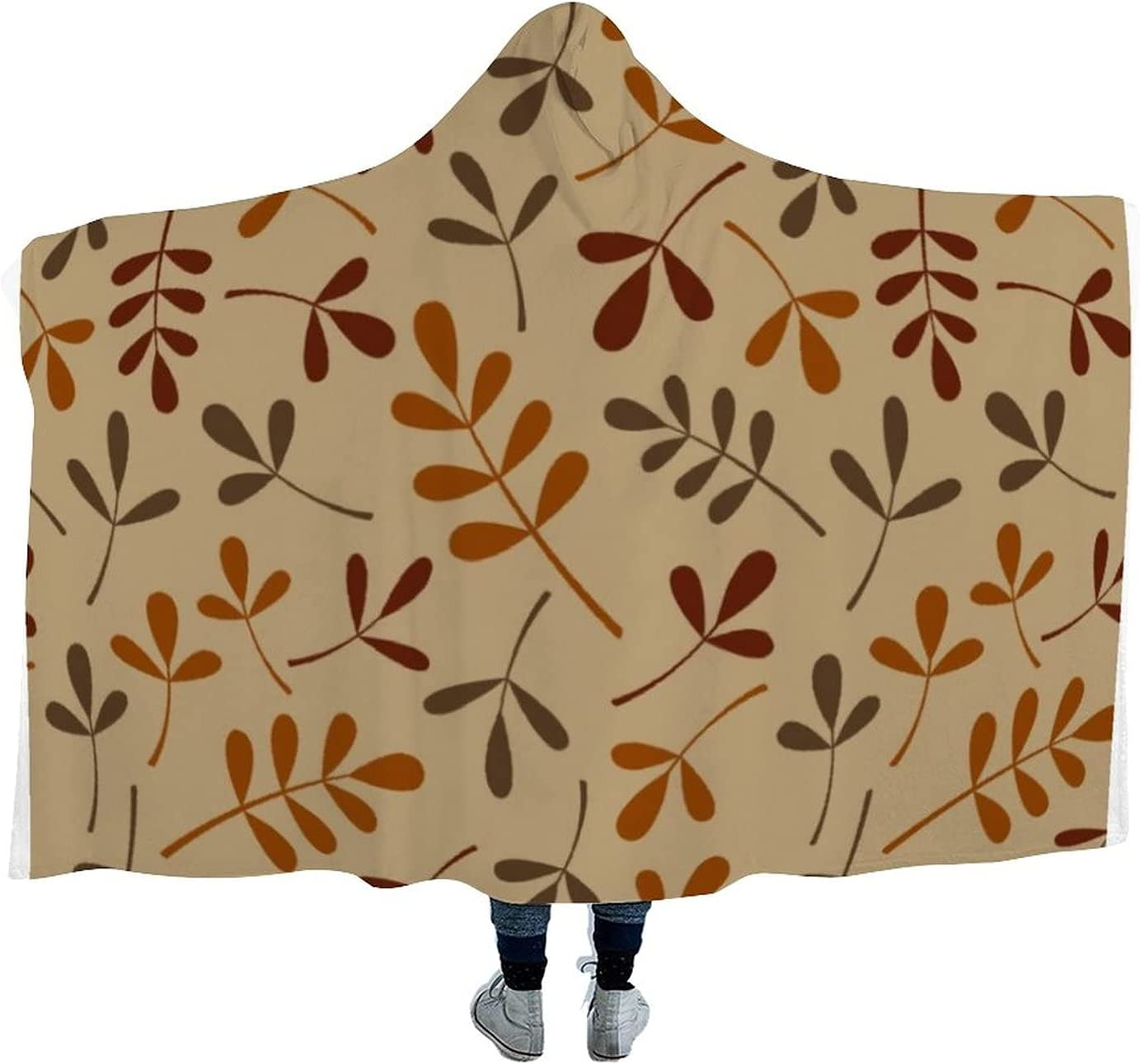Assorted Fall Leaves Pattern Hooded At the price of surprise Microfiber Max 79% OFF Wearable Blanket