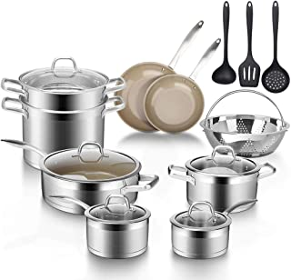 Duxtop Professional Stainless Steel Induction Cookware Set, 17-Piece Kitchen Pots and Pans Set, Stainless Steel Ceramic Nonstick Pan set, Impact-bonded Technology
