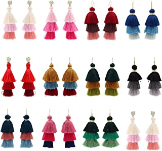 12 Pairs Bohemian Tassels Earrings for Women Colorful Long Layered Thread Ball Dangle Fringed Earrings Red White Yellow Long Tassels Earrings Set Girl Fashion Jewellery
