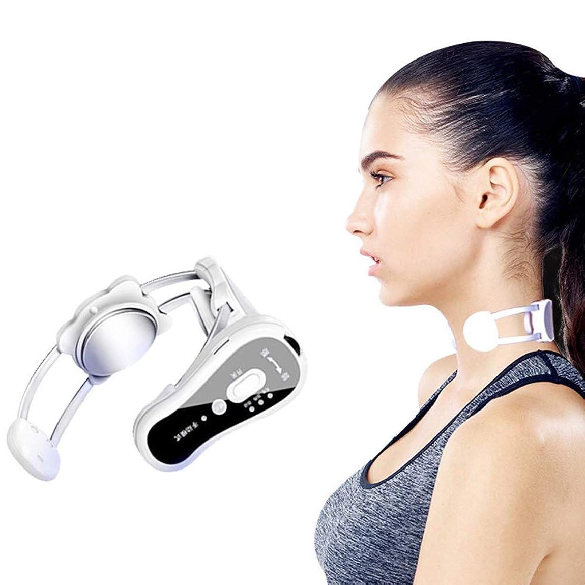 忠誠鎖にじみ出る電気の 熱振動機能を備えた指圧首と肩の背中のマッサージャー、筋肉の緊張の痛みの軽減ベストギフト ポータブル, white