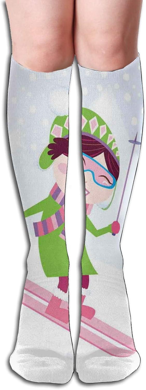 Compression Socks for Men/Women Skiing Girl On Snowy Hill Joy Smiling Child On Pink Ski Winter Hobby Cartoon Socks Best for Circulation,Medical,Running,Athletic,Nurse,Travel 8.5 x 50cm