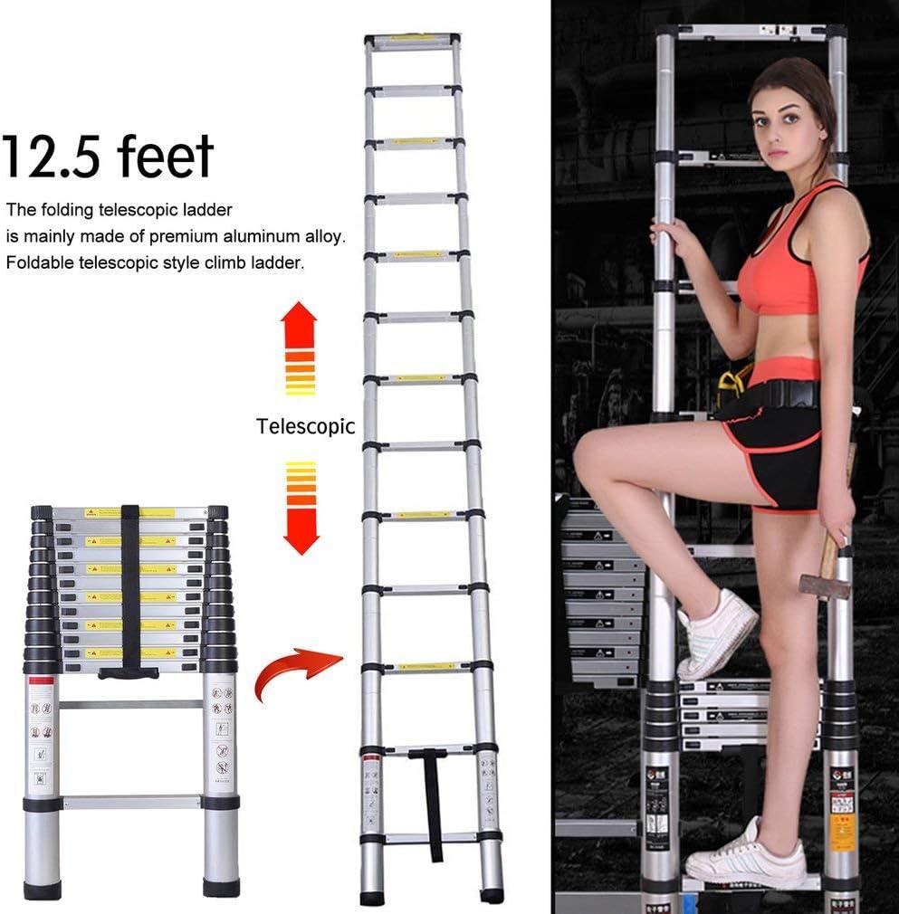 Capacit/é de charge de 150 kg,Distance entre les marches 3.2m : 30 cm /Échelle t/élescopique en aluminium pliable 3,2m /échelle d/éploy/ée