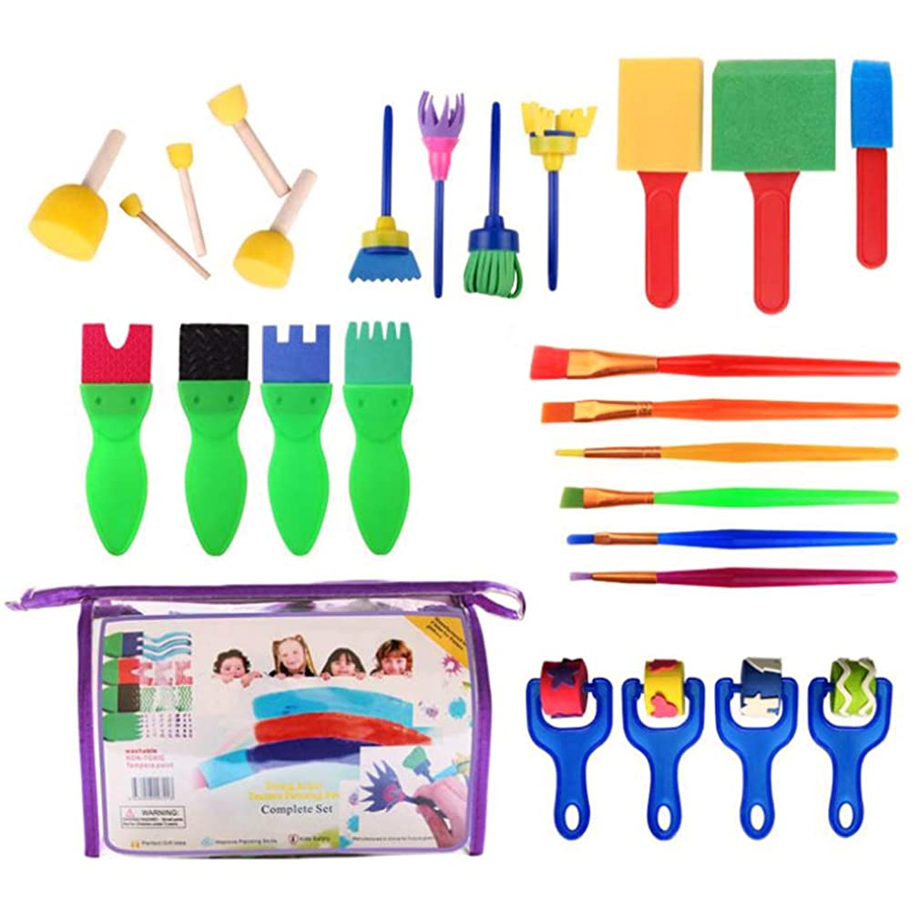 FineInno 26Pcs Paint Brush Set Nylon Hair Brushes Painting Drawing Tools Sponge Brushes Sponge Seal Early Learning Paint Set Painting Kits for Acrylic Oil Watercolor Gouache (26pcs)