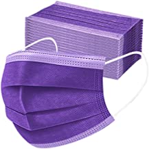 Disposable 3ply Face Mask Elastic Earloop Mouth Face Cover Sanitary Masks Safety,Anti-spittle,Protective Dust(Purple,50pcs)