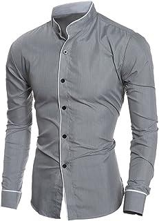 Coersd Long Sleeve Blouse Mens Summer Casual Slim Printed Shirt Top M-4XL