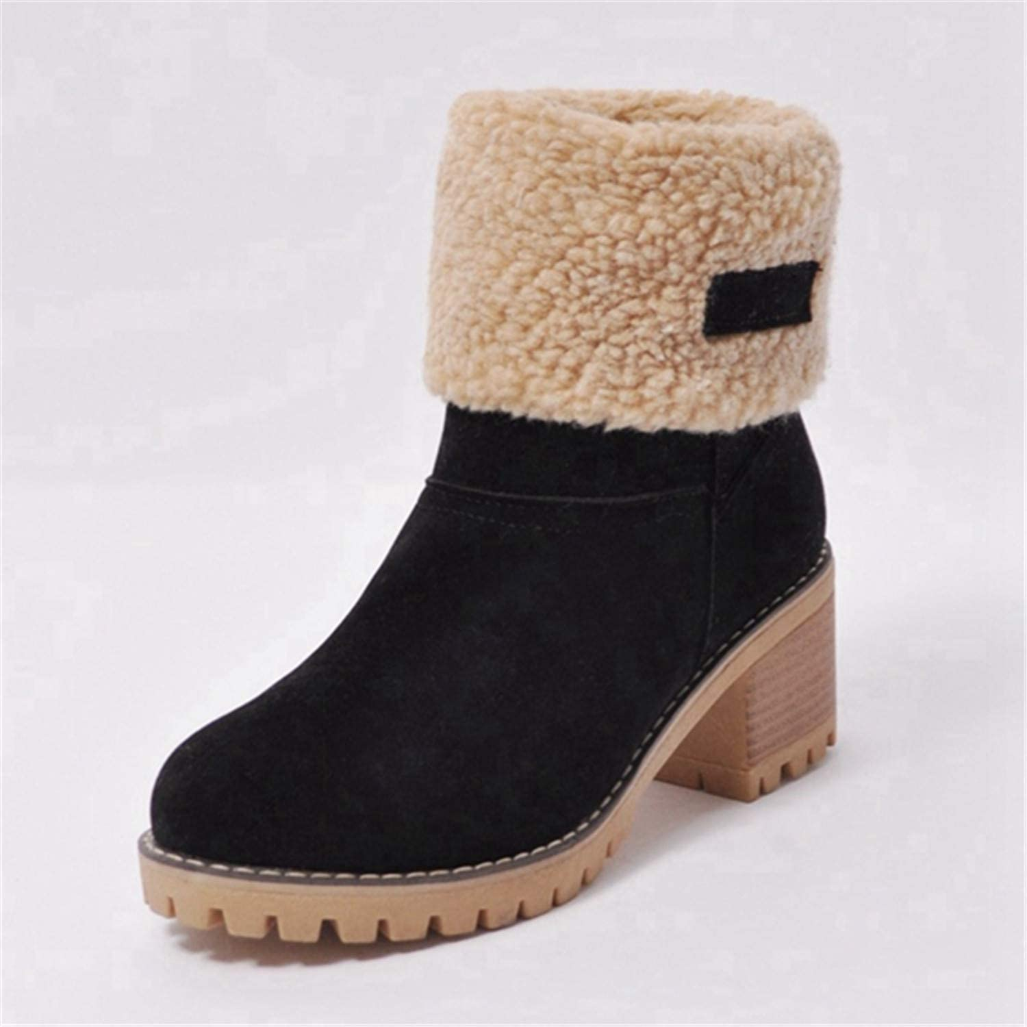 Leroyca Women Boots Female Winter shoes Woman Fur Warm Snow Boots Square High Heel Ankle Boots