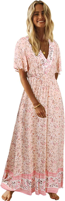 LANISEN Women's Summer Casual Short Sleeve V Neck Boho Floral Flowy Swing Beach Party Long Maxi Dress