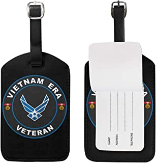 KATE HOLT US Air Force Vietnam Era Veteran Luggage Bag Tags Leather Travel ID Labels Suitcase Name Tags