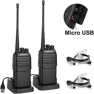 Walkie Talkies Radioddity GA-2S UHF Recargable Emisoras de Caza Largo Alcance Conexión de Carga Micro-USB con Auricular de Enlace acústico con Micro Pack 2 Unidades