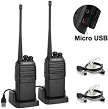 Radioddity GA-2S Long Range Walkie Talkies for Adults UHF Two Way Radio Rechargeable with Micro USB Charging + USB Desktop Charger + Air Acoustic Earpiece with Mic, 2 Pack