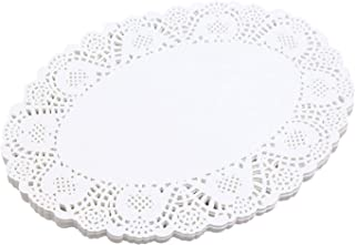 13.8 x 10.3 Inch 100 Pcs White Oval Lace Paper Doilies for Wedding, Tea Party, Tableware Decoration
