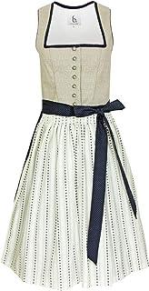 Bergweiss Trachten Damen Dirndl Melinda - Beige Dunkelblau 65 cm - Traditionelles Trachtenkleid