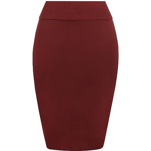 d21a7e83f9 Pretty Fashion Plain Pencil Skirt   Women's Midi Pencil Skirt   Ladies  Jersey Bodycon Skirt Plus