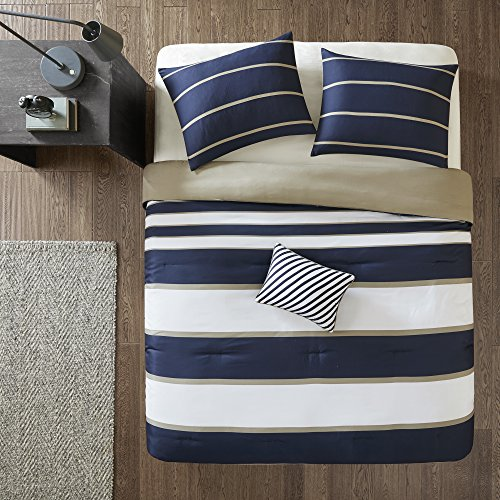 Comfort Spaces Verone Comforter Set Ultra Soft Microfiber Printed for College Dormitory, Guest Room Bedding, Queen, Stripe Blue/White,CS10-0189