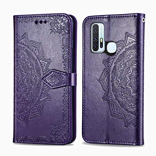 Leather Wallet Case for Vivo Z6 PU Leather Magnetic Flip Cover with Card Slots Holders Bookstyle Wallet Case for Vivo Z6 5G - JESD012394 Purple