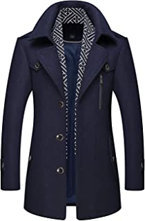 Men's Stylish Scarf Single Breasted Wool Walker Coat Thick Winter Jacket-6 Colors