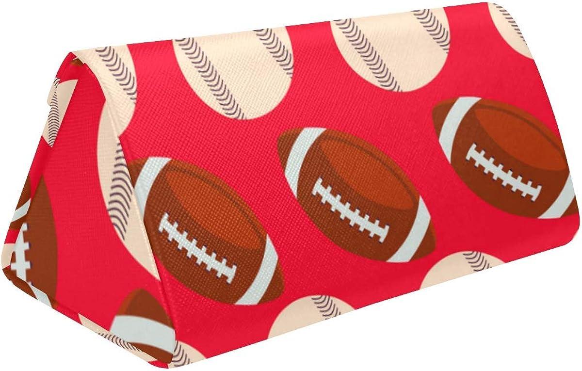 Glasses Case Baseball And Rugby Football Eyeglass Case Leather Magnetic Folding Hard Case Sunglasses Eyewear Protective Case