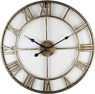 TongtongProduct Reloj De Pared Metal Hierro Redondo Hueco Diámetro 80Cm Reloj De Pared Decoración Hogar Salón Oficina Dormitorio Cocina Conveniente para La Sala De Estar En Casa@ Dorado
